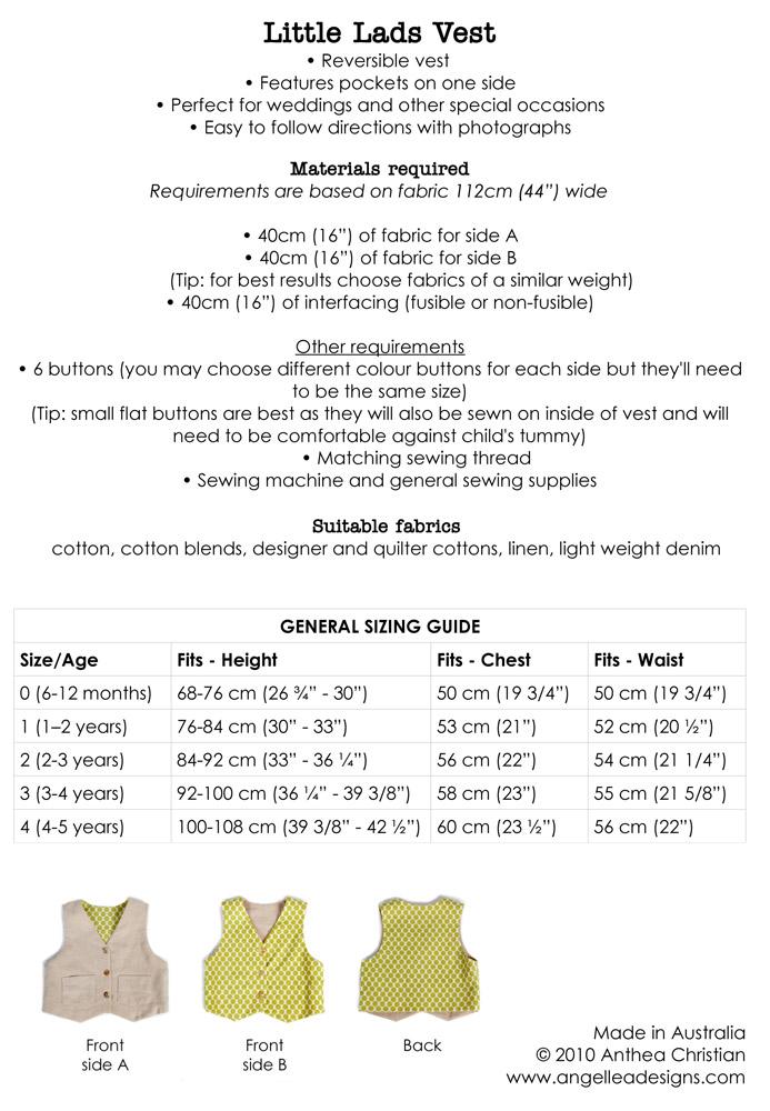Vest Pattern. PDF Sewing Pattern for Little Lads\' Reversible Vest ...