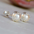 Freshwater Pearl & Sterling Silver crown set stud earrings (8mm)
