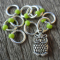 Small Snag Free Knitting Stitch Markers Owl Charm Green Beads