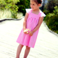 girls dress - size 5 - baby doll chambray pink gingham - READY TO SHIP