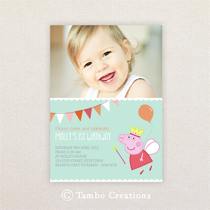 Photo Birthday Party Invitations. Peppa Pig. I Customise, You Print ...