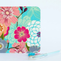 Fabric Greeting Card - Teal floral