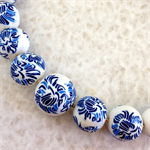 White and Blue Floral Handmade Clay Beaded Necklace