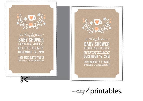 High Tea Baby Shower Invitation Tea Party Invite Boy Or Girl