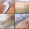 """4 Ceramic Coasters Design """"Beach"""""""