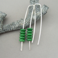 Racing Green Czech Glass Stacked Sterling Silver Fresh Modern Dangle Earrings