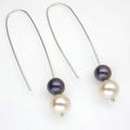 Black and white Fresh Water Pearl earrings