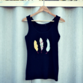 Handstitched Feather Applique Tank Top - Made to Order