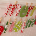 Custom Christmas Banner - fabric merry christmas letters with pegs,string in bag