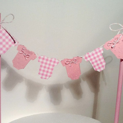 Cake Bunting/Cake Topper Pink Gingham Baby Onesie, Baby Shower/Gender Reveal/Fi