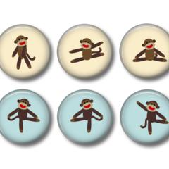 Fridge magnets  Monkey 1 - set of 6 fridge magnets