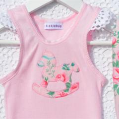 Ribbons & Roses Singlet Tee Top Onesie Bodysuit 000, 00, 0, 1, 2, 3, 4, 5