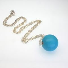 Turquoise on sterling silver chain necklace