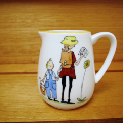 Jug, hand painted with children, duck, dog and a Mum
