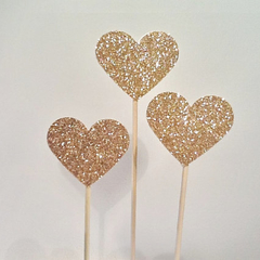 Glitter Love Heart Cake Pokes/Cake Toppers. Set of 3. Gold Glitter/Wedding/Engag