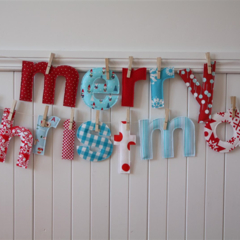 Reserved Listing for Trisha - Blue and Red Christmas Banner