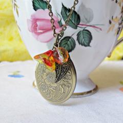Mr Darcy Locket Charm Necklace Orange Fuchsia Pink Yellow Glass Bead Jane Austen