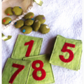 Early Math Learning Toy Set- Green Fabric Number Cards & Counters