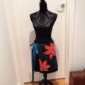 Short A-line Wrap Skirt with Vintage Kimono Panel