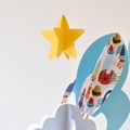 Rockets, clouds and stars space theme 3D paper baby mobile