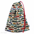 Drawstring Library or Toy Bag. Retro Multi Coloured Cars. Personalise it.