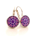 Earrings - Pink, purple & lilac floral - Vintage patterns in resin