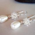 Swarovski crystal flower & cream drop pearl, Sterling Silver, earring