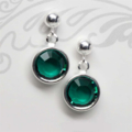 Emerald Swarovski Sterling Stud Earrings