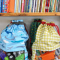 Drawstring Toy Bag. Peek-A-Boo Bag. Retro Cowboy & Horse Cactus & Desert.