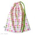 Drawstring Bag. School, Kindy, Cot Sheets. Pink Green Purple Love Hearts.
