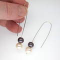 Black and white Fresh Water Pearl earrings
