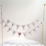 Cake Bunting/Cake Topper Double String of Flags Happily Ever After..Pink Glitter