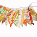 Vintage Bunting - Retro ORANGE Multi Floral Flags. BBQ, Tea Party Home Decor