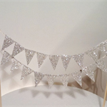 Cake Bunting/Cake Topper Double String of Flags Silver Glitter/Wedding/Engagemen