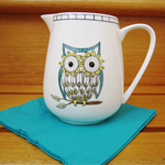 Hand Painted Jug - 3 Wise Owls in Yellow and Aqua