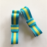 Blue / lime stripe alligator hair clip