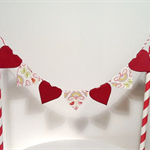Cake Bunting Lovely Love Hearts Burgundy