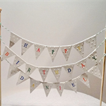 Cake Bunting/Cake Topper Triple String of Flags Happy Birthday Customisable Name