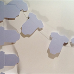 Paper Baby Onesie Garland, Baby Blue. Baby Shower/Gender Reveal/1st Birthday.