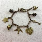 Bronze Charm Bracelet with Teapot, Pinecone, Key, Heart, Bird and Star