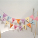 Cake Bunting/Cake Topper Double String of Flags Pastel Happy Birthday.