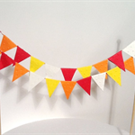 Cake Bunting Double String of Flags, Fire Engine, Orange, Red, Yellow and Cream