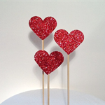 Glitter Love Heart Cake Pokes/Cake Toppers. Set of 3. Red Glitter/Wedding/Engage