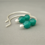 Sea Green Czech Glass and Sterling Silver Hoop Simple Elegant Earrings