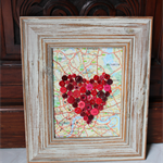 Red Button Heart on Vintage Map of England - White Frame