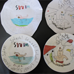 Your children's drawings hand-painted on a bone china plate