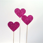 Glitter Love Heart Cake Pokes/Cake Toppers. Set of Three. Hot Pink/Wedding/Engag