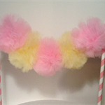 Cake Bunting/Cake Topper Pom Poms. Ballerina/Fairy. Yellow and Pink