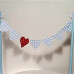 Cake Bunting/Cake Topper Wizard of Oz. Blue Gingham, Red Glitter Hearts