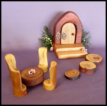 Wooden fairy door with table and chair set eco friendly for Fairy doors au